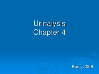 Urinalysis Chapter 4