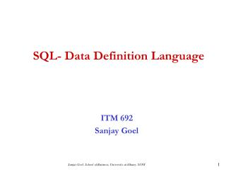 SQL- Data Definition Language