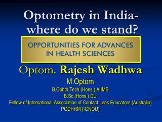Optometry in India-