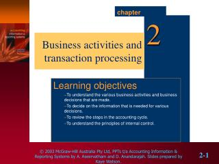 Business activities and transaction processing