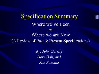Specification Summary