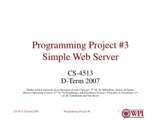 Programming Project #3 Simple Web Server