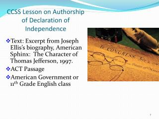 CCSS Lesson on Authorship of Declaration of Independence