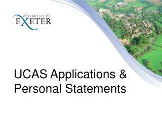 UCAS Applications  Personal Statements