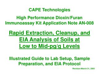 CAPE Technologies  High Performance Dioxin/Furan Immunoassay Kit Application Note AN-008