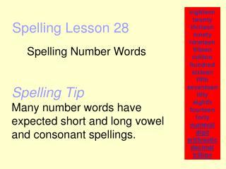 Spelling Lesson 28