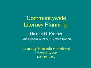 �Communitywide  Literacy Planning�