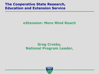 Greg Crosby, National Program Leader,