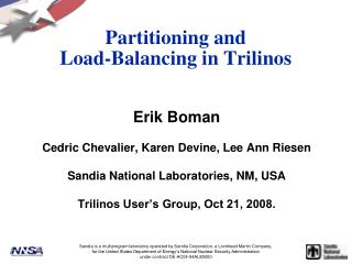 Partitioning and  Load-Balancing in Trilinos