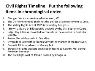 Civil Rights Timeline:  Put the following items in chronological order.