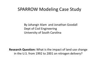 SPARROW Modeling Case Study
