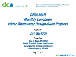 District of Columbia Water and Sewer Authority  George S. Hawkins, General Manager