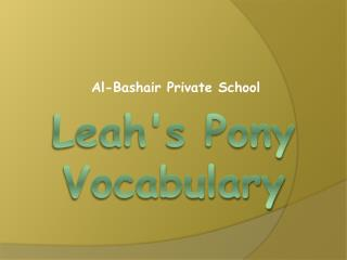 Leah's Pony Vocabulary