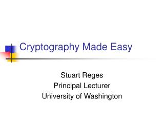 Cryptography Made Easy