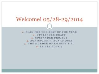 Welcome! 05/28-29/2014