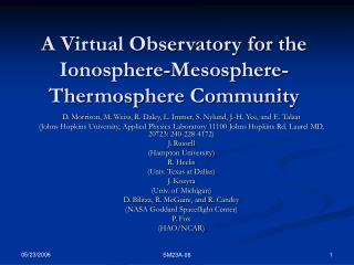 A Virtual Observatory for the Ionosphere-Mesosphere-Thermosphere Community