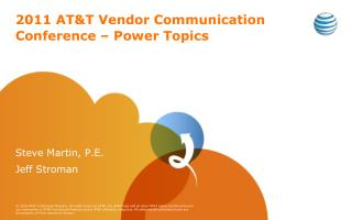 2011 AT&T Vendor Communication Conference – Power Topics