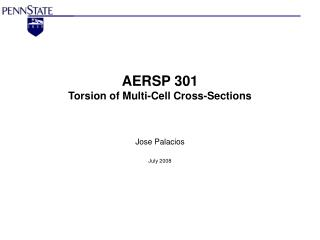AERSP 301 Torsion of Multi-Cell Cross-Sections