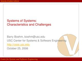 Systems of Systems:  Characteristics and Challenges