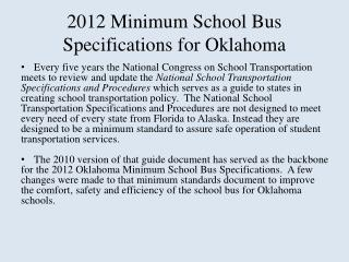 2012 Minimum School Bus Specifications for Oklahoma