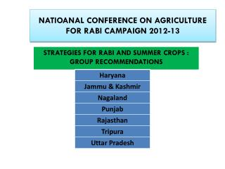 NATIOANAL CONFERENCE ON  AGRICULTURE FOR RABI CAMPAIGN 2012-13