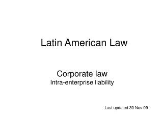 Corporate law Intra-enterprise liability