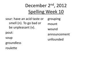 December 2 nd , 2012 Spelling Week 10