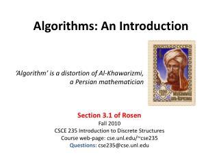 Algorithms: An Introduction