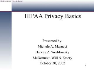 HIPAA Privacy Basics