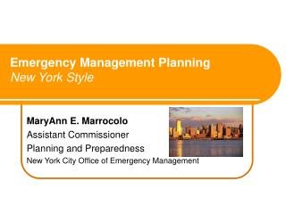 Emergency Management Planning New York Style