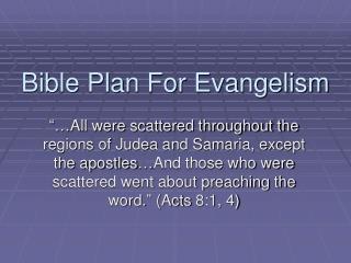 Bible Plan For Evangelism