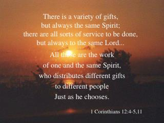 All these are the work of one and the same Spirit, who distributes different gifts