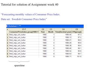 "Tutorial for solution of Assignment week 40 ""Forecasting monthly values of Consumer Price Index"