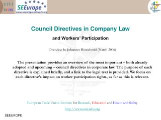 Council Directives in Company Law