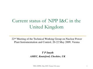 Current status of NPP I&C in the United Kingdom