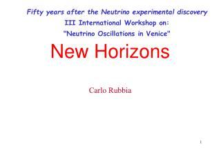 New Horizons Carlo Rubbia