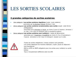 LES SORTIES SCOLAIRES
