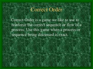 Correct Order