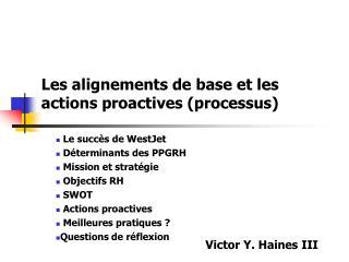Les alignements de base et les actions proactives (processus)