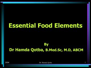 Essential Food Elements