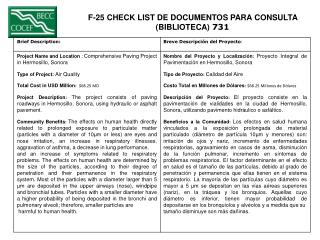 F-25 CHECK LIST DE DOCUMENTOS PARA CONSULTA  (BIBLIOTECA)  731