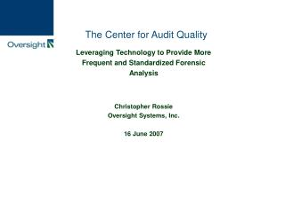 The Center for Audit Quality