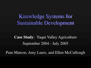 Knowledge Systems for Sustainable Development