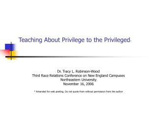 Teaching About Privilege to the Privileged