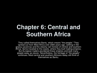 Chapter 6: Central and Southern Africa