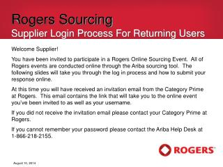 Rogers Sourcing Supplier Login Process For Returning Users