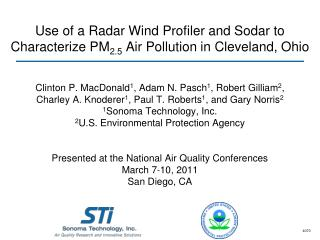 Use of a Radar Wind Profiler and Sodar to   Characterize PM 2.5  Air Pollution in Cleveland, Ohio