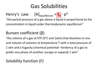 Gas Solubilities