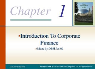 Introduction To Corporate Finance Edited by DBH Jan 06