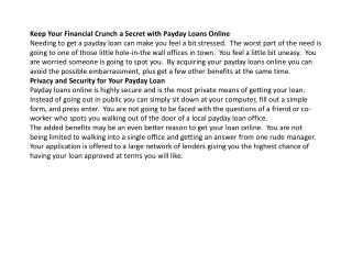 Keep Your Finances a Secret with Payday Loans Online Cashhhh